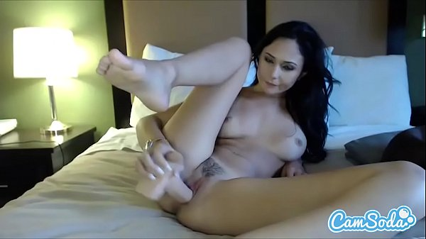 ariana marie sexy brunette masturbating with huge dildo